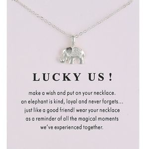 Jewelry - Inspirational Lucky Us Elephant Necklace NEW